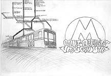 граффити с поездом на фоне схемы метро