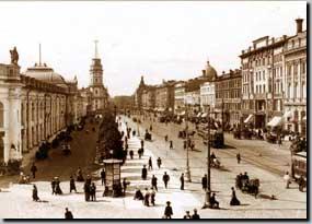 Вид на Невский проспект от Садовой улицы в сторону Думской улицы