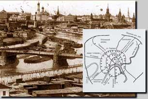 Панорама Москвы и схема метро по проекту начала 20 века