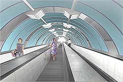 Пешеходный тоннель под рекой М. Невой