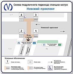 """схема подземного перехода станции метро """"Невский проспект"""""""